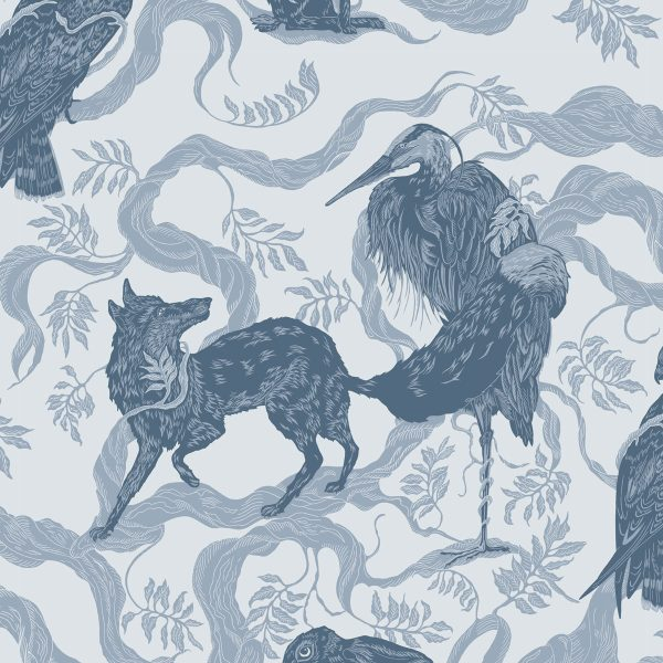 Curtain fabric Upholstery fabric Blue curtain fabric Cocoon Home Aesop